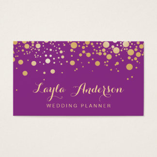 Glamour Gold Dots Decor - Stylish Violet Purple Business Card