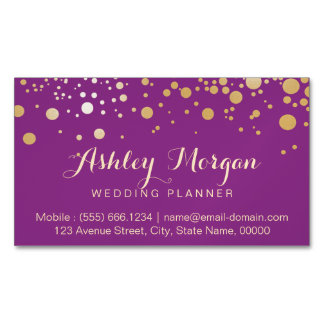 Glamour Gold Dots Decor - Stylish Violet Purple Business Card Magnet