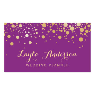 Glamour Gold Dots Decor - Stylish Violet Purple Double-Sided Standard Business Cards (Pack Of 100)
