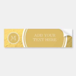 Glamour Gold Foil Background Monogram Bumper Sticker