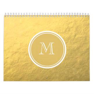 Glamour Gold Foil Background Monogram Calendar
