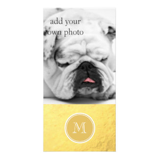 Glamour Gold Foil Background Monogram Card