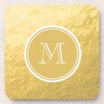Glamour Gold Foil Background Monogram Coaster