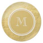 Glamour Gold Foil Background Monogram Dinner Plate