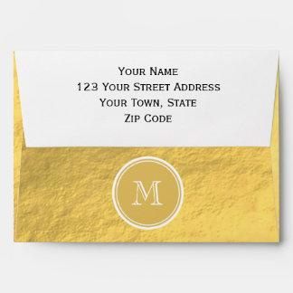 Glamour Gold Foil Background Monogram Envelope