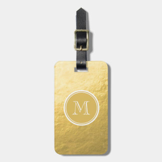Glamour Gold Foil Background Monogram Luggage Tags