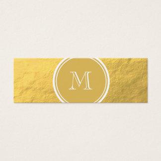 Glamour Gold Foil Background Monogram Mini Business Card