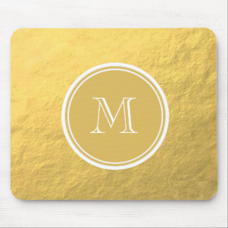 Glamour Gold Foil Background Monogram Mouse Pad