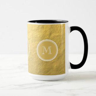 Glamour Gold Foil Background Monogram Mug