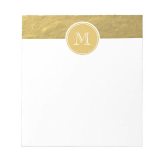 Glamour Gold Foil Background Monogram Memo Note Pad