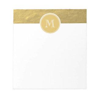 Glamour Gold Foil Background Monogram Notepad