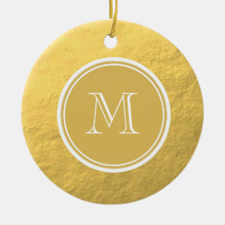 Glamour Gold Foil Background Monogram Double-Sided Ceramic Round Christmas Ornament