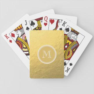 Glamour Gold Foil Background Monogram Playing Cards