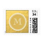 Glamour Gold Foil Background Monogram Postage Stamp