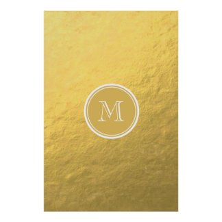 Glamour Gold Foil Background Monogram Poster
