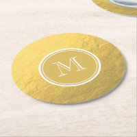 Glamour Gold Foil Background Monogram Round Paper Coaster