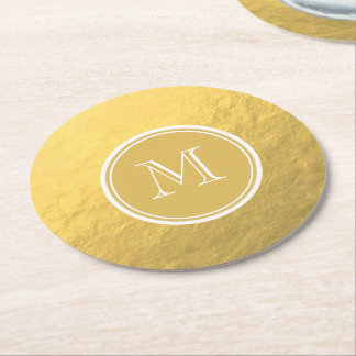 Glamour Gold Foil Background Monogram Round Paper Coaster