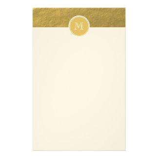 Glamour Gold Foil Background Monogram Stationery Paper