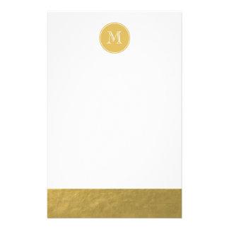 Glamour Gold Foil Background Monogram Stationery