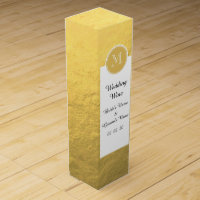 Glamour Gold Foil Background Monogram Wine Gift Box