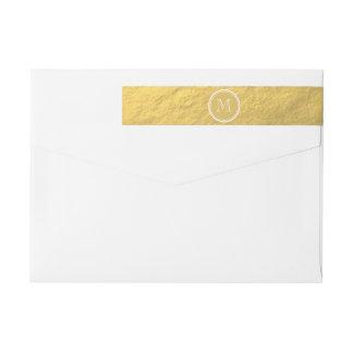 Glamour Gold Foil Background Monogram Wraparound Return Address Label