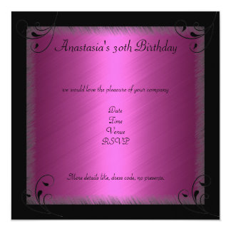 Glamour Hot Pink Black Floral Birthday Party 5.25x5.25 Square Paper Invitation Card