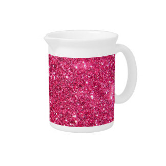 Glamour Hot Pink Glitter Beverage Pitcher