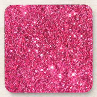 Glamour Hot Pink Glitter Beverage Coasters