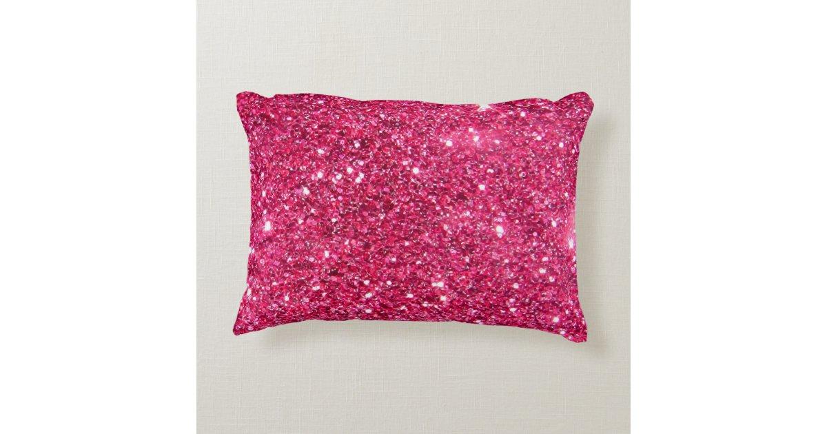 Glamour Hot Pink Glitter Decorative Pillow Zazzle