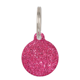 Glamour Hot Pink Glitter Pet ID Tags