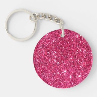 Glamour Hot Pink Glitter Double-Sided Round Acrylic Keychain