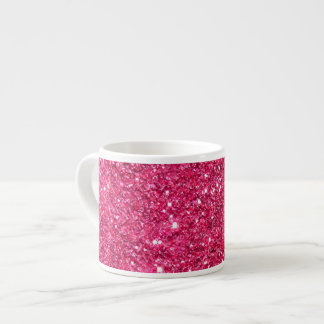 Glamour Hot Pink Glitter Espresso Cup