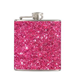Glamour Hot Pink Glitter Hip Flask