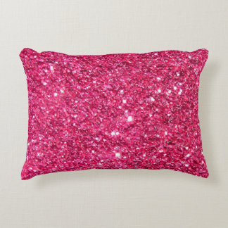 Glamour Hot Pink Glitter Accent Pillow