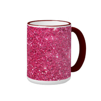 Glamour Hot Pink Glitter Ringer Coffee Mug