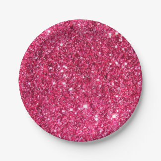 Glamour Hot Pink Glitter 7 Inch Paper Plate