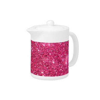 Glamour Hot Pink Glitter Teapot