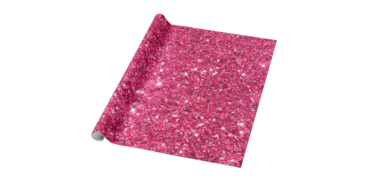 Glamour Hot Pink Glitter Wrapping Paper Zazzle Com