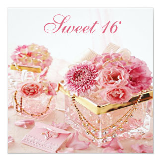 "Glamour Jewels, Pink Flowers & Boxes Sweet 16 5.25"" Square Invitation Card"