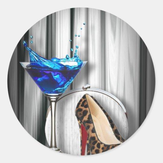 glamour martini cocktail party girl stilletos classic round sticker