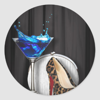 glamour martini cocktail party girl stilletos classic round sticker