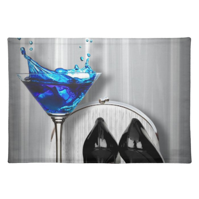 glamour martini cocktail party girl stilletos cloth placemat