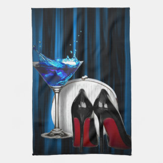 glamour martini cocktail party girl stilletos hand towel