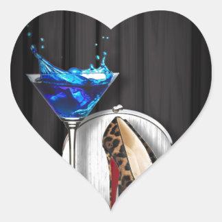 glamour martini cocktail party girl stilletos heart sticker