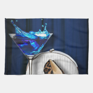 glamour martini cocktail party girl stilletos kitchen towel