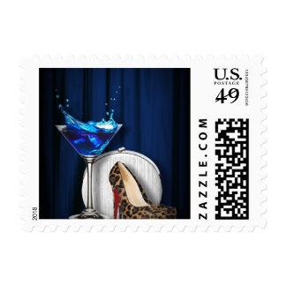 glamour martini cocktail party girl stilletos postage