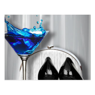 glamour martini cocktail party girl stilletos postcard