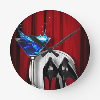 glamour martini cocktail party girl stilletos round clock