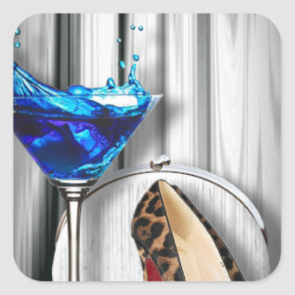 glamour martini cocktail party girl stilletos square sticker
