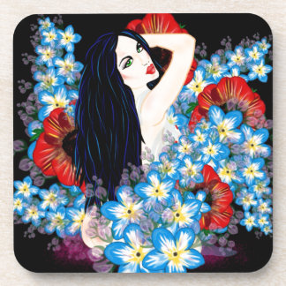 Glamour Model in Poppy flower bed, ART by LeahG Drink Coaster